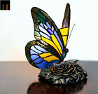 JT Tiffany Blue Butterfly Accent Stained Glass Table Lamp Leadlight Home Decor