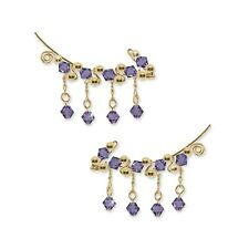 Ear Sweeps Pins Climbers Vines Earring Gold w/ Swarovski Tanzanite Crystals 251