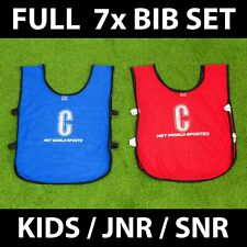 Team Netball Bibs - Full Set Of Lettered Bibs - All Positions - Blue or Red