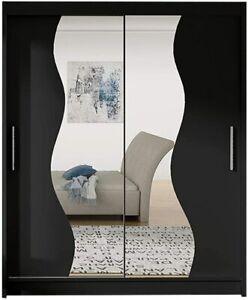 """Modern Wardrobe """"BRAVA S"""" BLACK Mirror Sliding Doors Hanging Rail Shelves 180cm"""