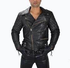 1087 Gr.L  Herren Leder Motorradjacke,Bikerjacke Retro Lederjacke Leather Jacket