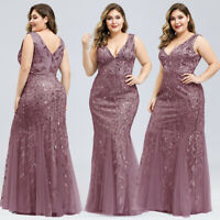 Ever-Pretty Sequin V-Neck Long Formal Evening Dress Fishtail Wedding Party Gowns