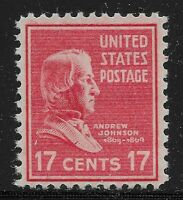 Scott#: 822 - Andrew Johnson Single Stamp 1938 17c MNH OG