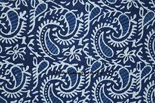 1 Yard Cotton Paisley Block Printed Indigo Blue Handmade Fabric Sewing Crafts