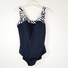 6586a7c786238 Vintage Roxanne One 1 Piece Bathing Suit Swim Size 18 42D Black White  Stripe NWT
