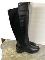 Marc Fisher Wide Calf Leather Tall Shaft Boots Incept Black Sz 8M