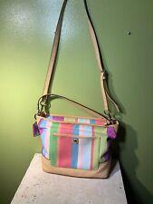Coach  Hamilton Weekend Stripe Carly Shoulder Bag 19389 SV/Multicolor