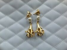 Gold Finish Metal Dior Drop Earrings Antique