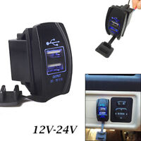 Dual-USB-Power-Charger-Carling-ARB-Rocker-Switch-Blue-LED-Light-Car-Boat-12-24V