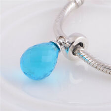 Blue Faceted Beauty Murano Glass Dangle Bead Charm Fits European Bracelet