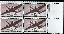 US C28 Twin Motor Transport 15c - Plate Block of 4 - HINGED -  22764  UR