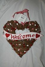 GRAPEVIINE WELCOME HEART VALENTINES DAY HANGING PLAQUE DECORATION WALL SIGN