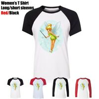 Cute Cartoon Tinker Bell Design Women's Girl's T-Shirt Casual Graphic Tee Tops