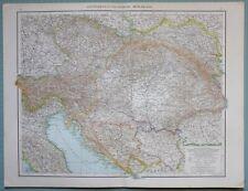 1881 MAP ~ AUSTRIA HUNGARY MONARCHY BOSNIA SERBIA BUDAPEST WIEN TRIEST