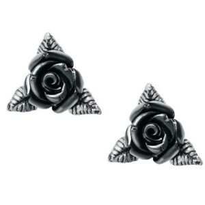 Alchemy Gothic Ring O' Roses Black Rose Ear Studs Earrings English Pewter E447