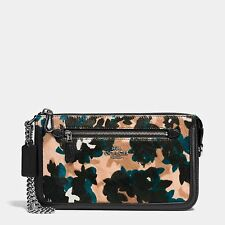 COACH NOLITA 24 LEAF PRINTED Calf Hair Wristlet Bag Purse 58412 NWT