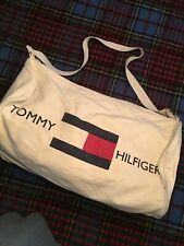 Vintage Tommy Hilfiger White Cotton Canvas Weekender Duffel Tote Sling Gym Bag