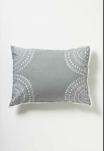 NIP Anthropologie Imogen Set Of Standard Sham Gray Moroccan Inspired Cotton