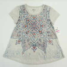 Style & Co Womens Petite Top Graphic Printed Bell Hem Tee T Shirt Gray Grey PP