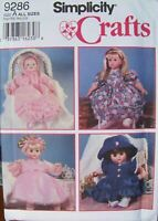 "Simplicity Crafts Pattern 9286 Design Your Own Baby Doll Clothes S-M-L 12""-22"""