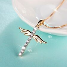 18K YELLOW GOLD MADE WITH SWAROVSKI CRYSTAL CROSS ANGEL WINGS PENDANT NECKLACE