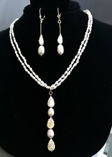 BEAUTIFUL FRESHWATER PEARL NECKLACE - PENDANT AND  LONG DANGLE EARRING SET
