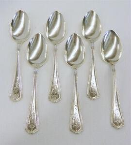 "6 Vtg Reed & Barton Sterling Hepplewhite Engraved 5 3/4"" Teaspoons Spoons D Mono"