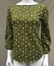 NEW ANN TAYLOR Green Black Boat neck 3/4 Sleeve Top Shirt Blouse Stretch 0 2 XS