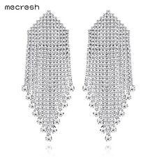 Mecresh Luxury Statement Wedding Tassel Earring Big Crystal Bridal Earring