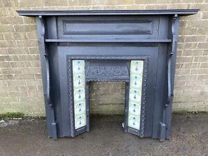 Beautiful Antique Cast Iron Fire Surround Tiled Inserts Wooden Mantel Vintage #L