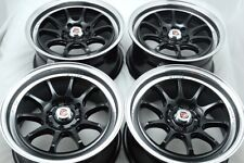 15 black Wheels Tiburon Yaris Fit Miata Rio Aveo Civic Accord 4x100 4x114.3 Rims