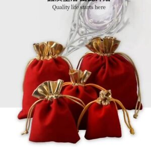 20 - 100 Red Gold Velvet Gift Bags Thick Pouches Jewellery Packing Package