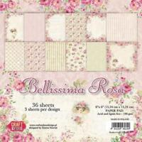 "Bellissima Rosa Paper Pad 190gsm 36 Sheets 6 x 6"" Single Sided 12 Designs x 3"