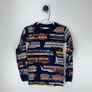 Hanna Andersson Navy Long Sleeve Pajama Top Organic Cotton Locomotive Train 5