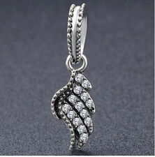 CRYSTAL ANGEL WING DANGLE CHARM FOR CHARM BRACELET OR NECKLACE. SILVER PLATED