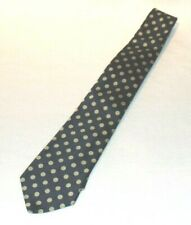 Burberry England Silk Neck Tie Navy Blue with Taupe Polka Dots