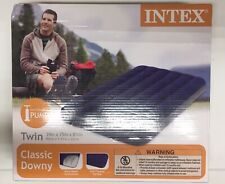 Intex Twin Size Classic Downy Inflatable Air Bed Mattress (Blue)