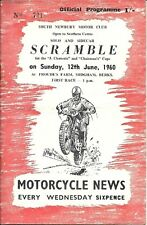 SOUTH NEWBURY MOTOR CLUB SOLO & SIDECAR SCRAMBLE SAT., 12th JUNE 1960 PROGRAMME.