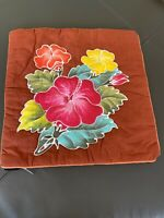Hibiscus Tropical Flower Quilted Multi Color Brown Decorarive Pillow Sham 16x16