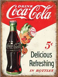 "Coke Coca Cola 5 cent Retro Vintage Reproduction Metal Tin Sign 9""x12"""