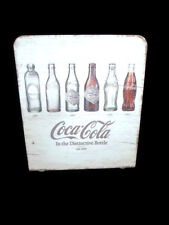 Coca-Cola Evolution Napkin Holder Whitewashed Wood Bottle History - BRAND NEW
