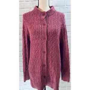 L.L. Bean Womens Long Sleeves Flecked Cable Knit Pink Cardigan Sweater 2XS Size