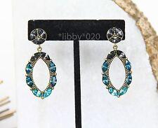 Silpada Earrings Swarovski Crystal Peacock Punch Rhinestone Gala Blue NEW