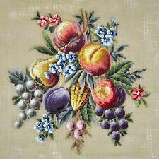 Vintage French Needlepoint Floral Bouquet of Fruit Arrangement Petite Point Kit