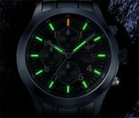 Yelang Men Tritium T100 Watch Quartz Timer WR100M Military Date Day Pilot Watch