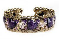 Womens Fashion Ladies Rhinestone Gold-plated Purple Heart Retro Bracelet Gift