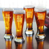 Beer Sayings Pilsner Beer Glasses - Set of 4 - Fun Bar Premium Drinkware Gift