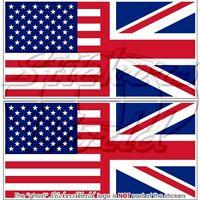 United States American & British UNION JACK Flag Vinyl Stickers Decals 110mm x2