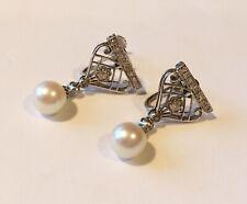 Antique Art Deco Platinum/14K Diamond Ear Rings With Pearl