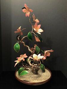 "Vintage Large Bovano Enamel on Copper Flowering Bonsai Tree Sculpture 24"" Tall!"